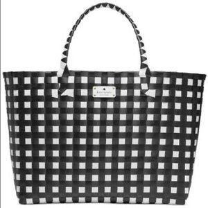 Kate spade black & white weekend woven bag